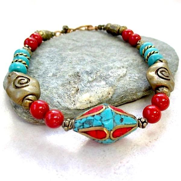 Boho Ethnic Bracelet with Tibetan Mosaic, Turquoise, Coral, Antique Brass