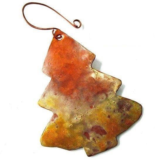Rustic copper evergreen tree Christmas ornament.