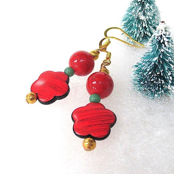 Merry and Bright Holiday Earrings, Floral Christmas Jewelry