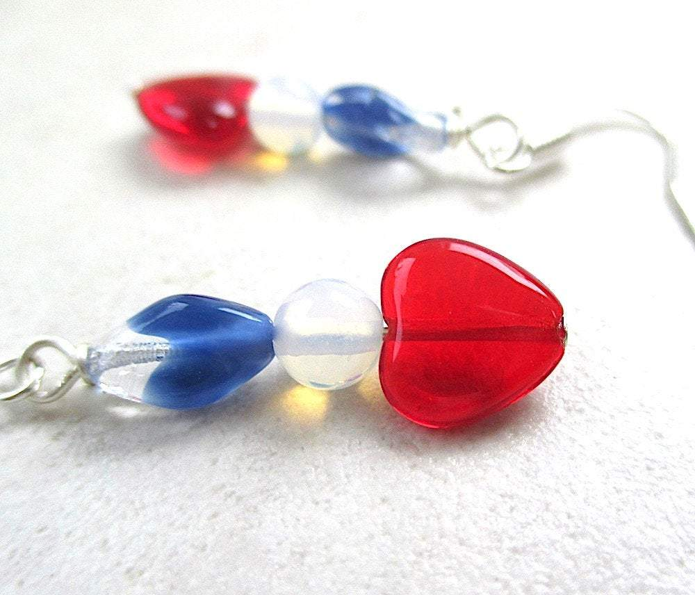 Patriotic all American earrings red hearts, white and blue beads, for July 4th, Valentine's Day and all USA holidays.