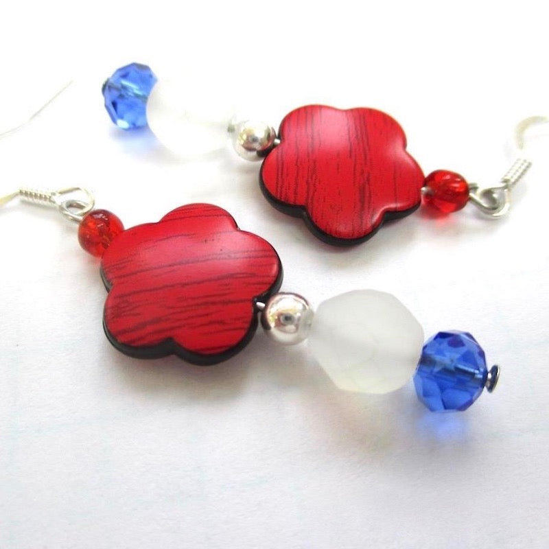 Patriotic Red White and Blue Floral Earrings All American Fashion Statement for July 4th Independence Day, Memorial Day, Veterans Day, Labor Day; Handcrafted in Maine, USA.