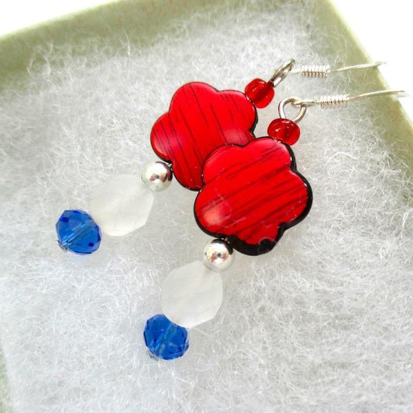 All American holiday earrings, red white and blue floral jewelry.