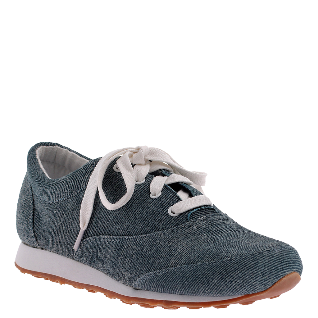 Comfy Lace Up Denim Sneaker Tennis Flat,RUBBER GRIP