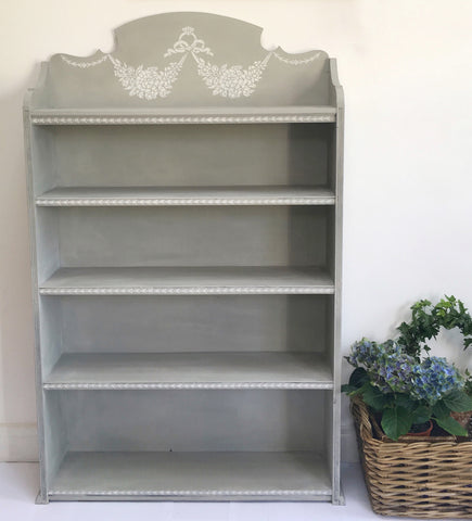Hand Painted Gustavian Style Grey Vintage Shelves