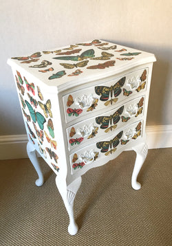 Beautiful Painted Chest of Drawers With Butterfly Decoupage