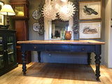 A Large Victorian Farmhouse Pine Kitchen Dining Table With Two Drawers