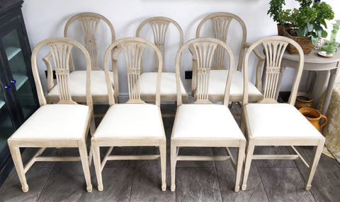Set Of 7 Hand Painted Mahogany Dining Chairs