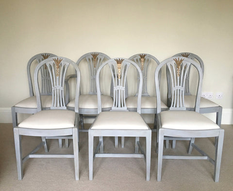Set of 7 Vintage Dining Chairs Painted Gustavian Style
