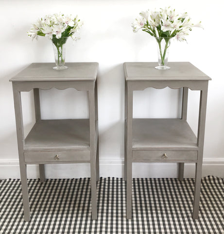A Beautiful Pair Of Vintage Painted Bedside Tables