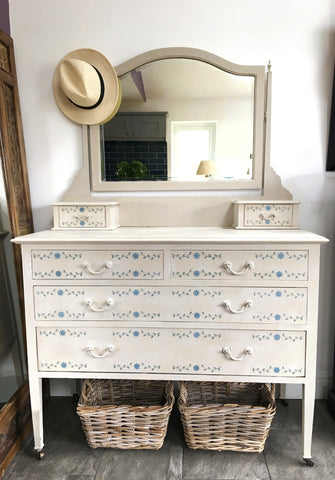 Pretty Vintage Dressing Table With Floral Detail Painted Country Grey