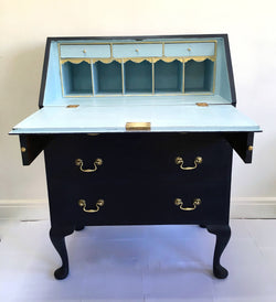 Stunning Vintage Bureau Painted Navy and Pale Blue With Gold Accent Details
