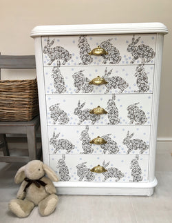 Pretty Vintage Chest Of Drawers Hand Painted With Rabbits & Blossom Design