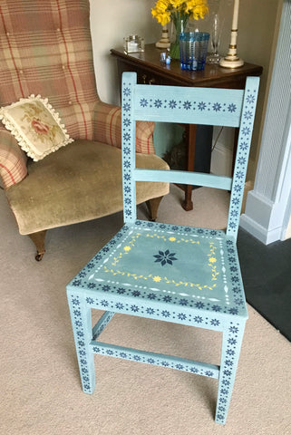 Folk Art Painted Oak Chair