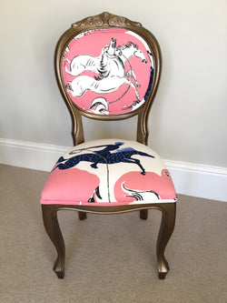 French Style Painted Vintage Chair Newly Upholstered With Pierre Frey Fabric