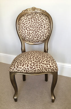 French Style Painted Vintage Chair Newly Upholstered With Zoffany Ocelot