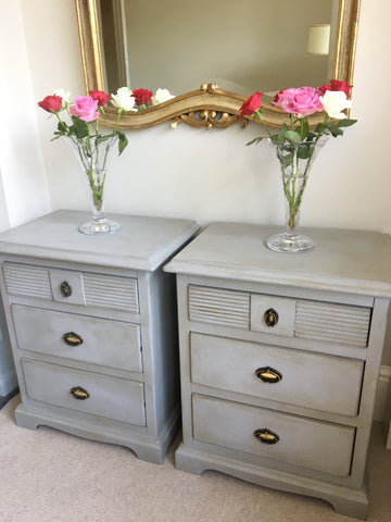 A Beautiful Pair Of Vintage Bedside Cabinets Hand Painted French Grey