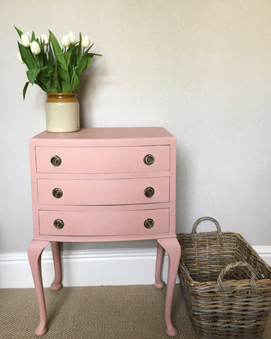 Vintage Set Of Drawers Hand Painted With Muted Pink Chal Paint