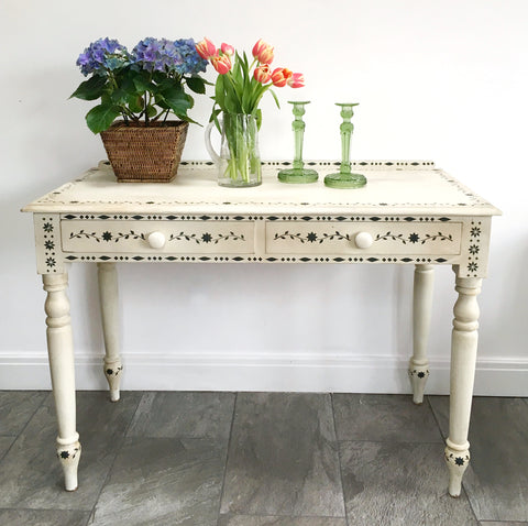 Vintage Pine Painted Table With Stencil Design
