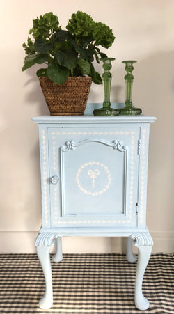 Vintage Bedside Cabinet Painted Pale Blue With Stencil Detail