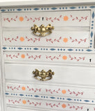 Sweet Painted Vintage Chest of Drawers with Stencil Design & Ornate Brass Handles