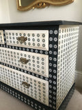 Vintage Chest Of Drawers Hand Painted With Monochrome Design