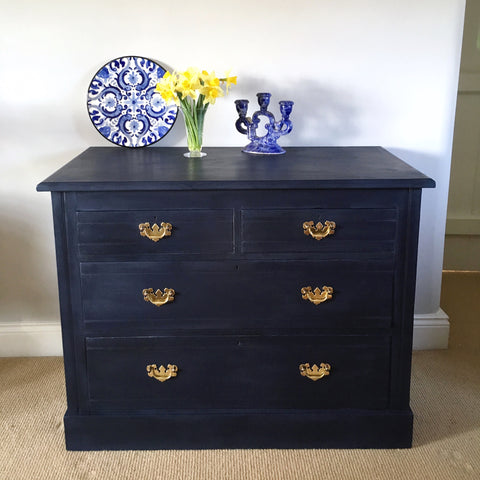 Vintage Navy Painted Chest Of Drawers
