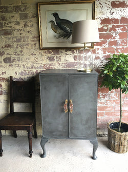 A Lovely Vintage Grey Painted Cabinet With Glass Handles