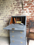 A Charming Vintage Bureau Painted Pigeon Grey