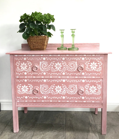 Pretty Vintage Chest Of Drawers Hand Painted Pink With A White Wash