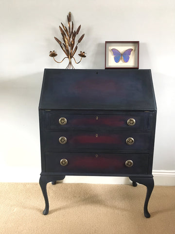 A Vintage Bureau Painted Ombre Style With Navy, Plum & Black