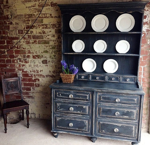 Victorian Pine Painted Kitchen Dresser With Glass Flower Handles