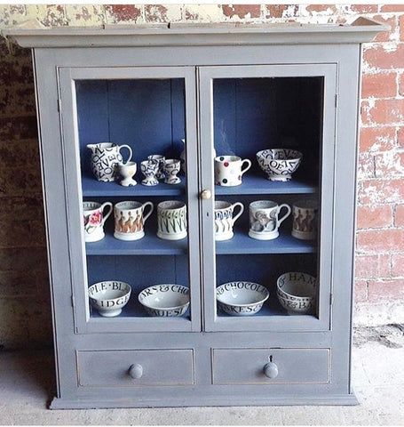 Vintage Glass Fronted Wall Pine Cabinet