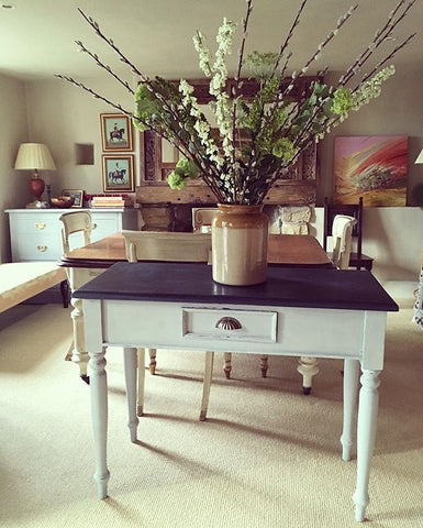 Hall Table Painted Annie Sloan Paris Grey & Autentico Sailors Blue