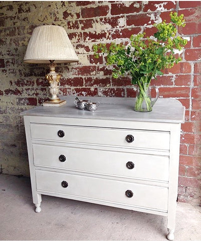 Vintage Chest Of Drawers Hand Painted Cream & Taupe