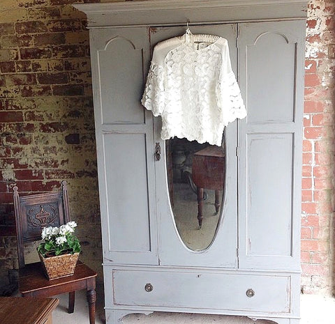 Vintage Triple Wardrobe With Bevelled Mirror