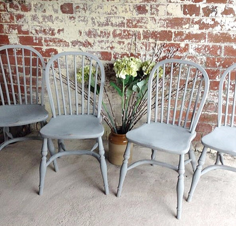 Set Of Four Vintage Windsor Kitchen Chairs
