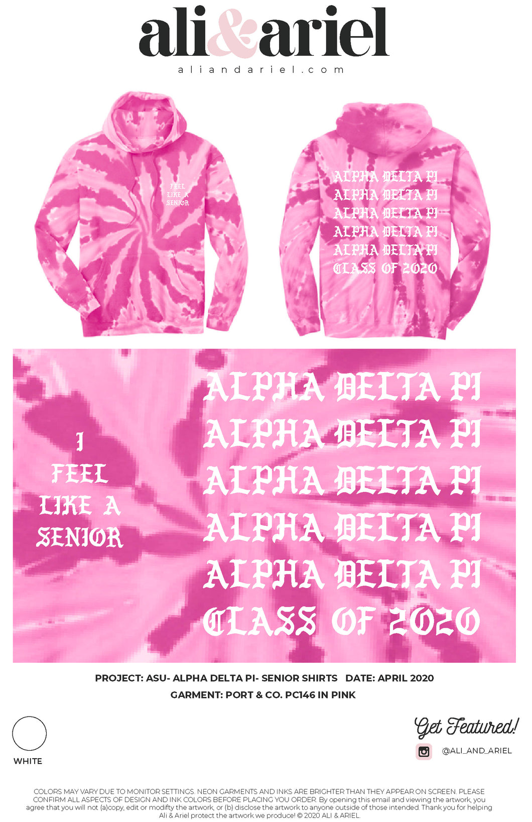 ASU- Alpha Delta Pi- Senior Hoodies