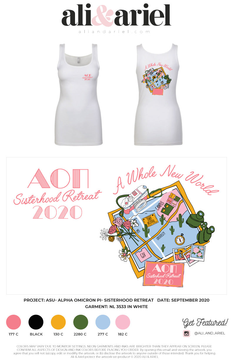 INDIVIDUAL SHIPPING: ASU- Alpha Omicron Pi- Sisterhood Retreat Tanks