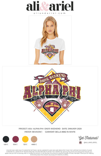 CROPPED TEES. ASU- Alpha Phi- Dad's Weekend