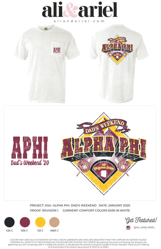 POCKET TEES. ASU- Alpha Phi- Dad's Weekend