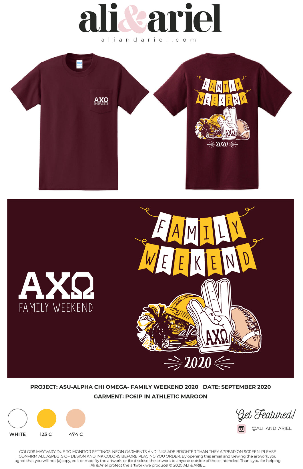 INDIVIDUAL SHIPPING: ASU-Alpha Chi Omega- Family Weekend 2020