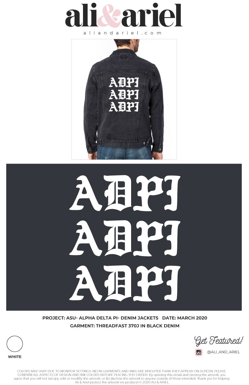INDIVIDUAL SHIP. ASU- Alpha Delta Pi- Denim Jackets