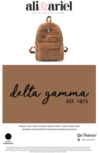 CORDUROY BACKPACKS. ASU- ΔΓ- Recruitment '20