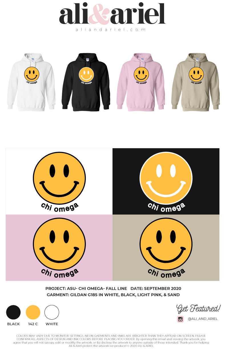 SMILEY HOODIES. ASU- Chi Omega- Fall Line