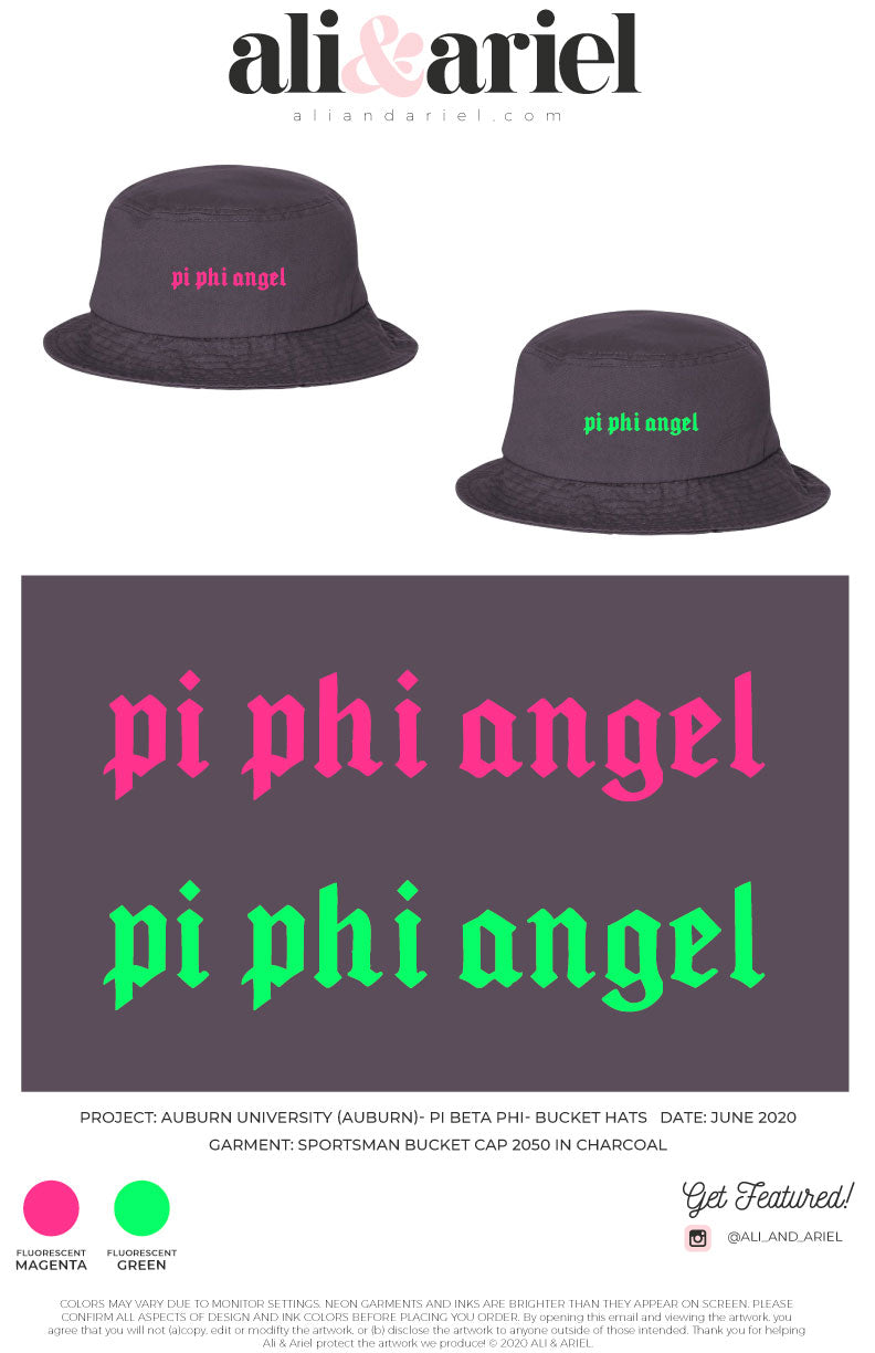 Auburn University- Pi Beta Phi- Bucket Hats (CHARCOAL)