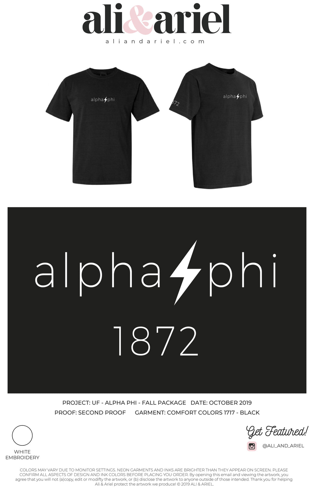 University of Florida- Alpha Phi- Embroidered Tee