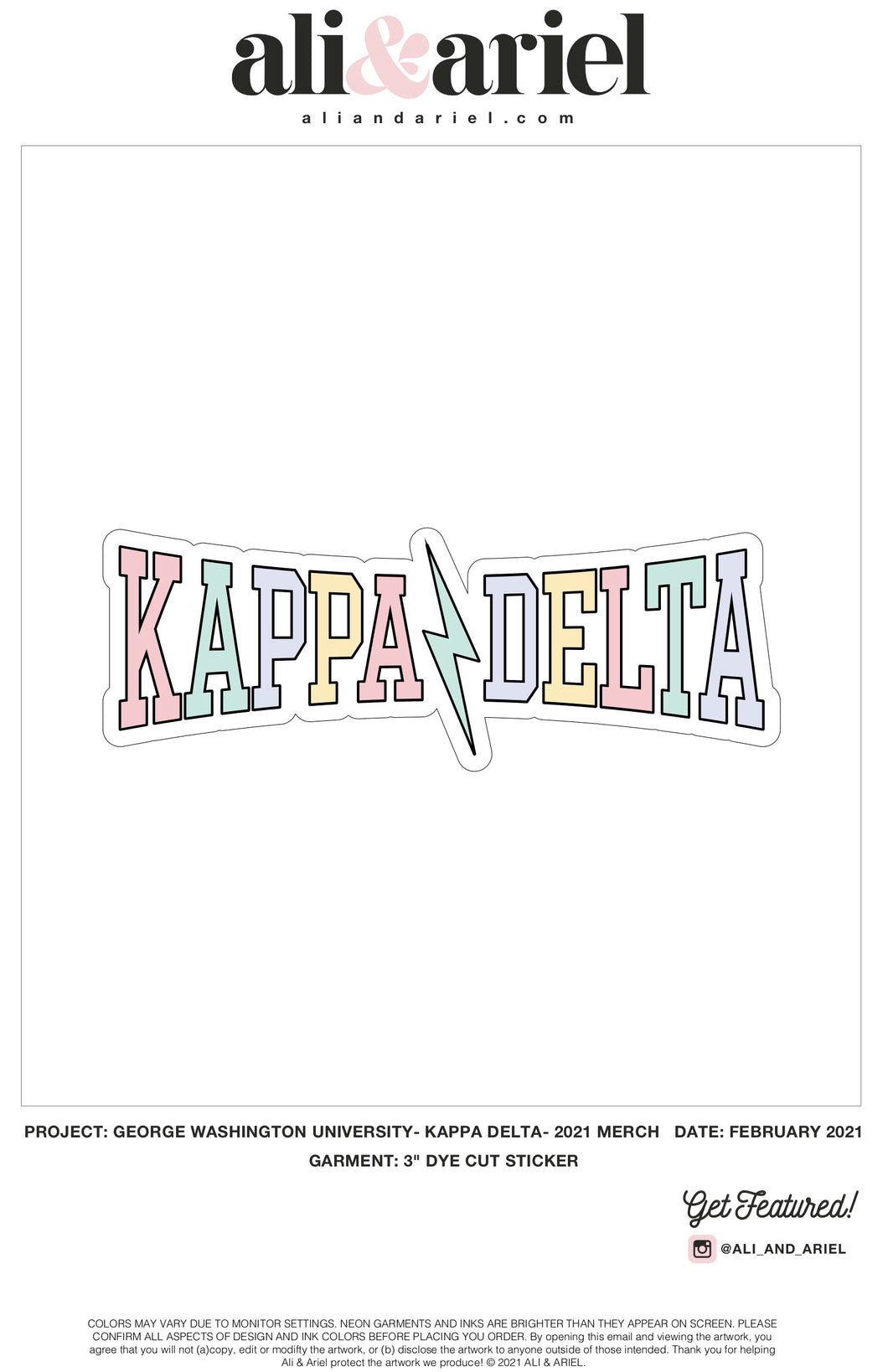 The George Washington University- Kappa Delta- Rainbow Stickers