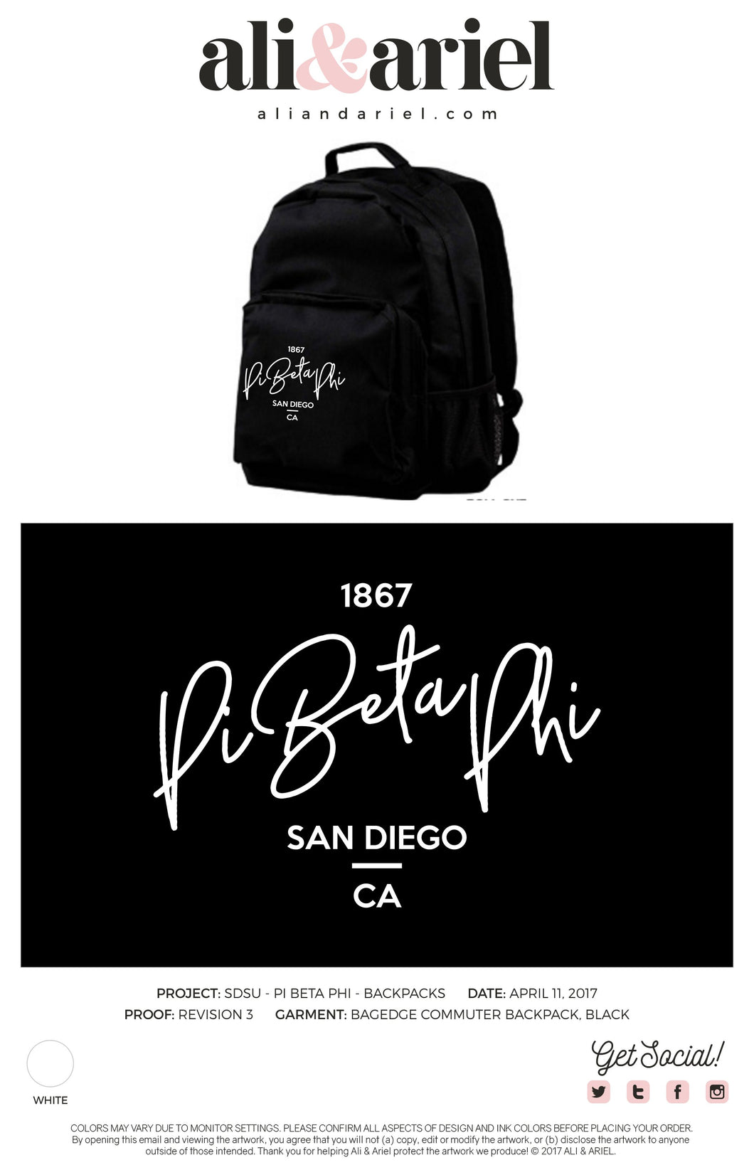 BACKPACKS. SDSU- Pi Beta Phi- Fall '20 PR Merch