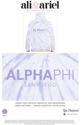 HOODIES. SDSU- Alpha Phi- Custom Tie Dye Merch
