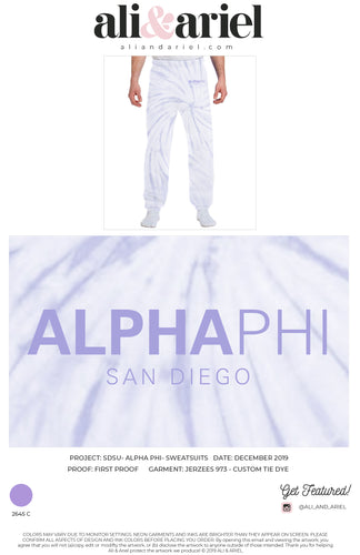 SWEATPANTS. SDSU- Alpha Phi- Custom Tie Dye Merch